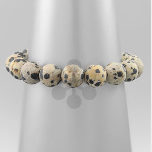 Black and White Animal Print Beaded Bracelet