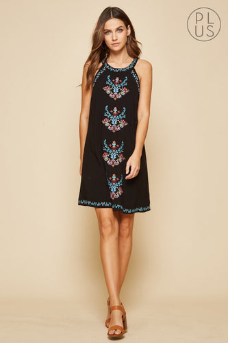 Boho Black A Line Bodice Sleeveless Dress with Floral Embroidery