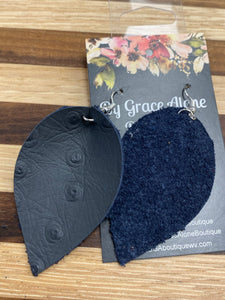 BGA Gems - Navy Ostrich Leather Leaf