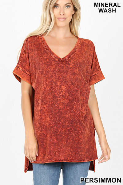 Mineral Wash Short Sleeve Top with High Low Hem - Persimmion