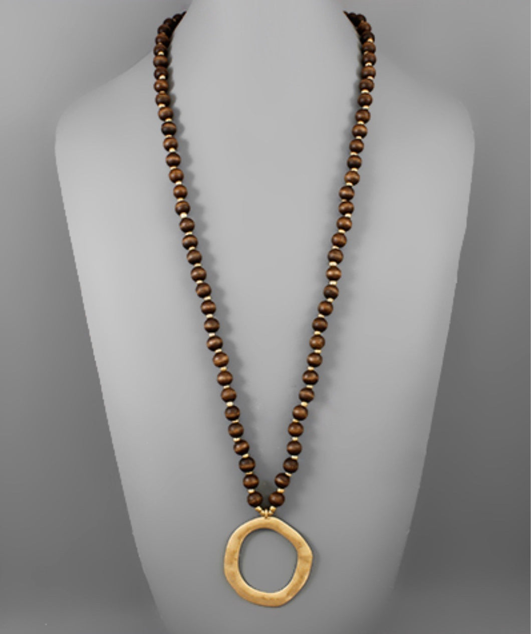 Dark Brown Wooden Beaded Necklace with Gold Hammered Circle