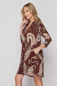 Brown and Mauve Paisley Gabby Dress