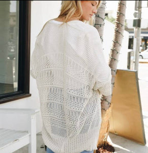 Knit Netted Light Weight Cardigan - Cream