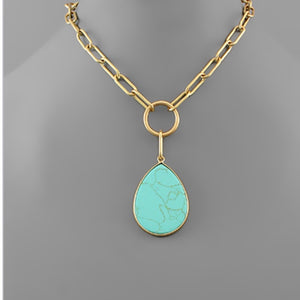 Gold Chain Tear Drop Stone Short Necklace - Turquoise