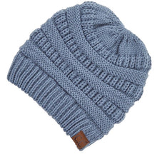 Load image into Gallery viewer, CC Adult Beanie with Criss Cross Cut Out for Ponytails - Steele Blue