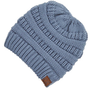 CC Adult Beanie with Criss Cross Cut Out for Ponytails - Steele Blue