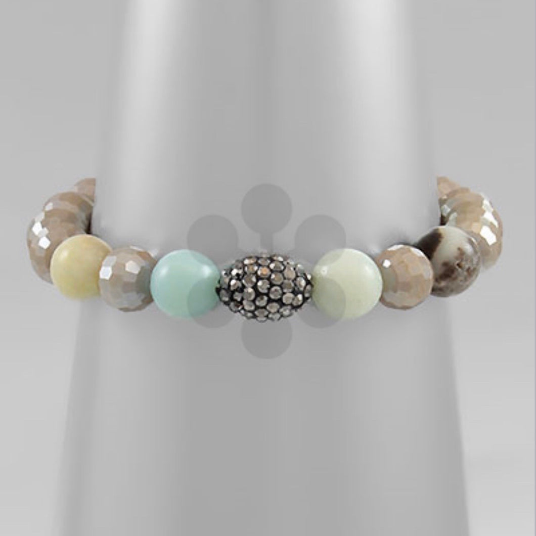 Grey and Teal Stone Bracelet