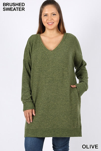 Olive Long Sleeve V Neck Brushed Melange Sweater Dress