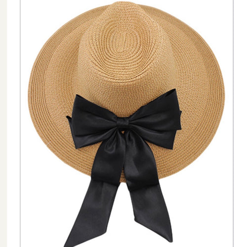 Straw Sun Hat with a Black Ribbon Accent