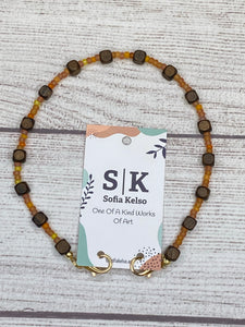 Handmade Beaded Mask or Eyeglass Chain - Brown Wooden Beads with Pale Orange & Yellow