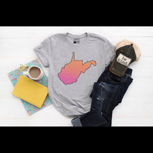 Load image into Gallery viewer, West Virginia State with Pink and Orange - Grey Crew Neck