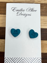 Load image into Gallery viewer, Emilia Alice Designs - Clay Earrings - Teal Heart Studs- OR NAH