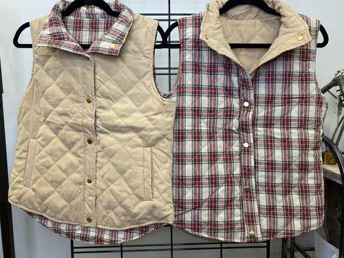Tan and Plaid Reversible Vest