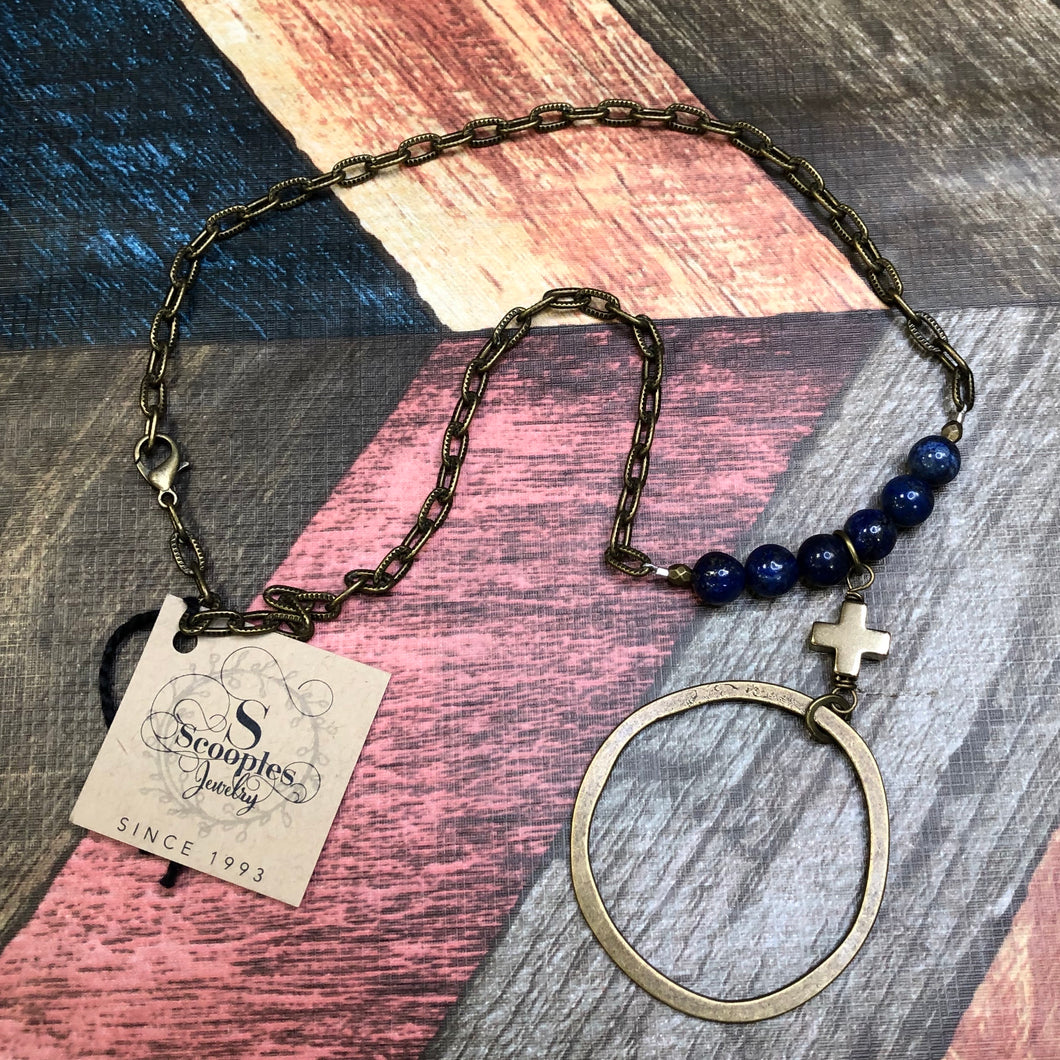 Scooples - Gold Necklace with Navy Beads and a Cross with a Circle