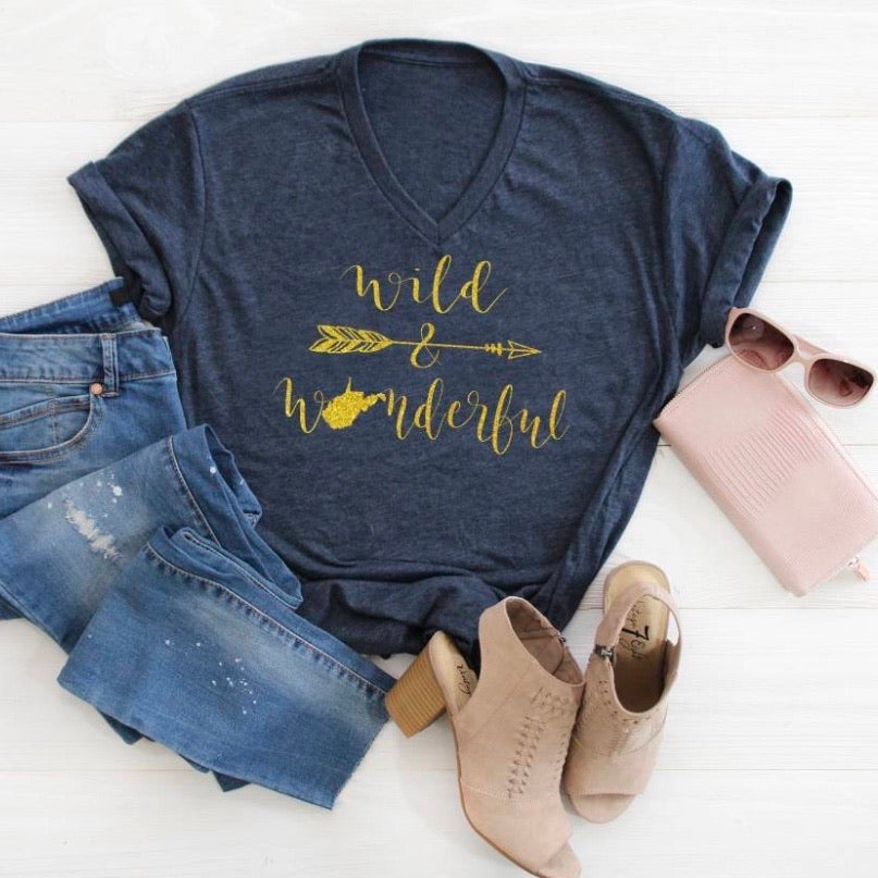 Wild & Wonderful V Neck - Navy