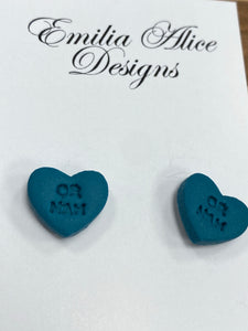 Emilia Alice Designs - Clay Earrings - Teal Heart Studs- OR NAH