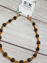 Load image into Gallery viewer, Handmade Beaded Mask or Eyeglass Chain - Brown Wooden Beads with Pale Orange & Yellow