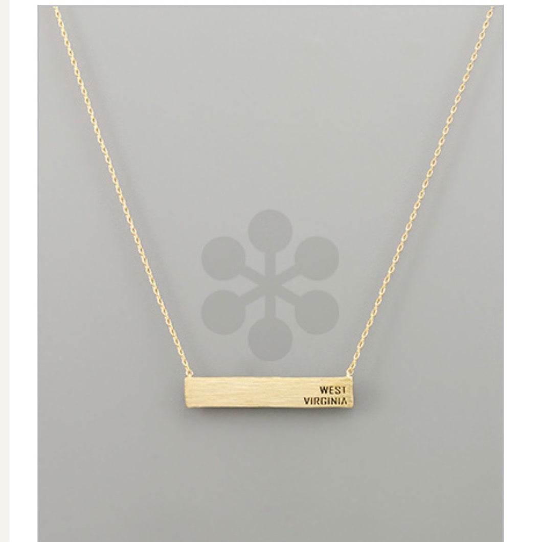 West Virginia Bar Necklace Gold