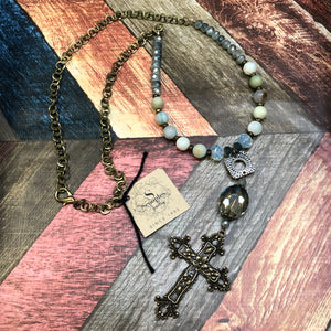 Scooples - Amazonite Necklace with a Steel Cross