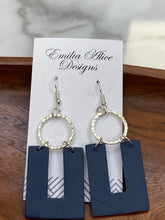 Load image into Gallery viewer, Emilia & Alice Designs - Clay Earrings - Navy Horseshoe with Circle Accent