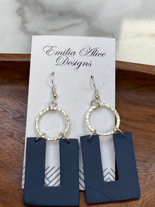 Emilia & Alice Designs - Clay Earrings - Navy Horseshoe with Circle Accent