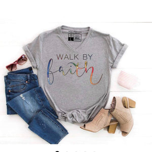 Walk By Faith - Grey V Neck