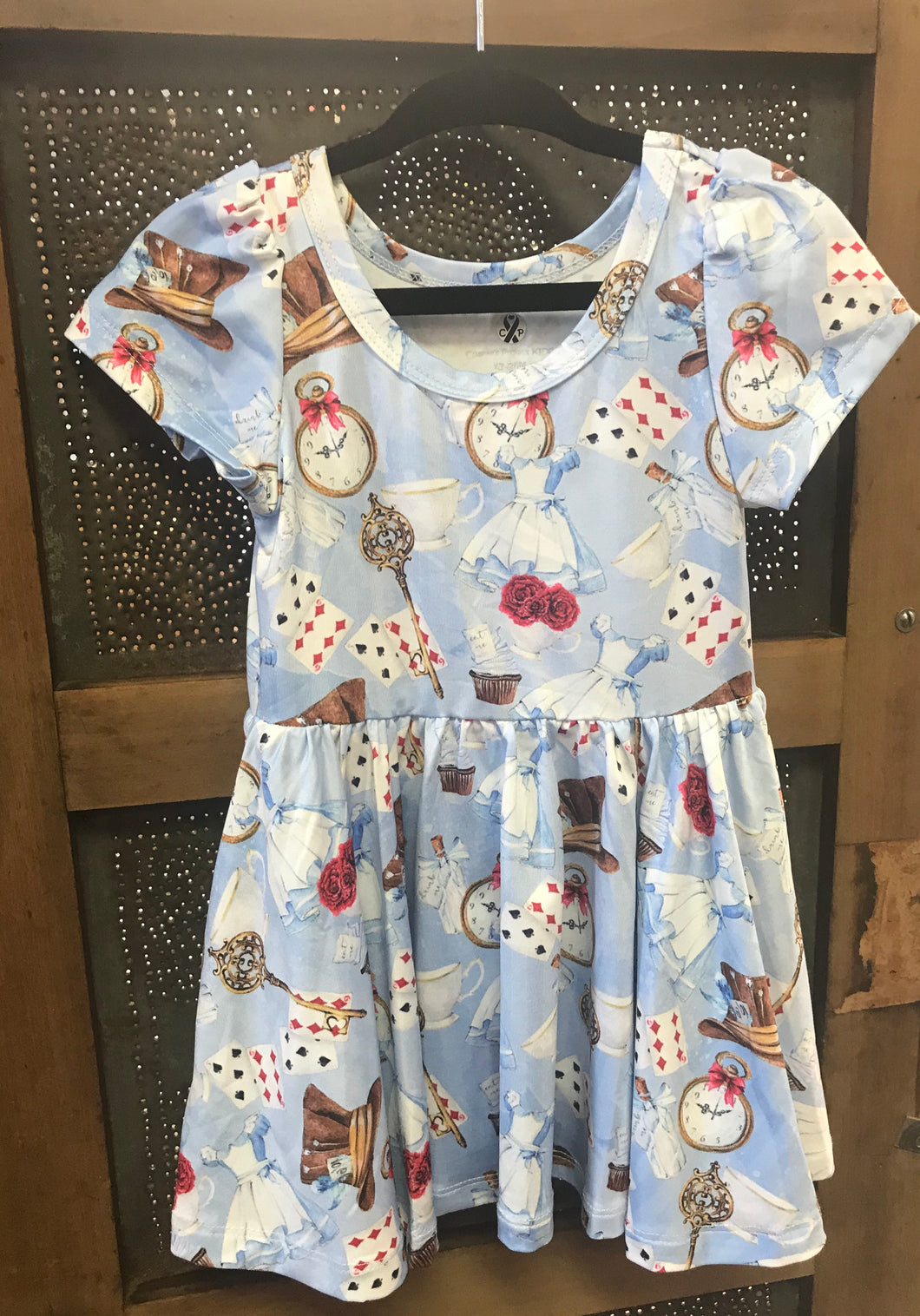 Tea Time Alice in Wonderland Floral Twirl Dress