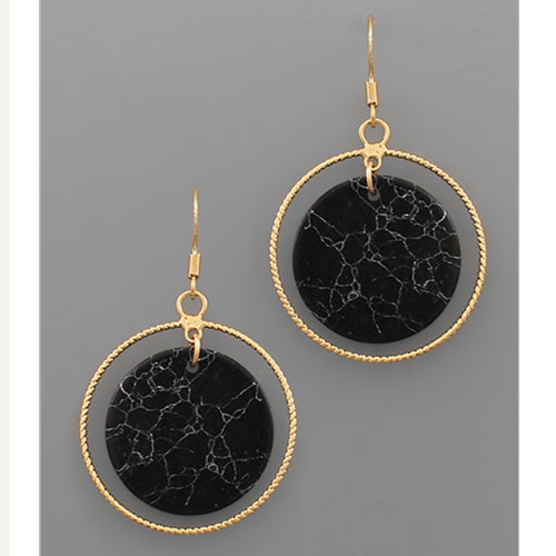 Stone Disk & Circle Earrings - Black Marble