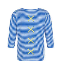 Load image into Gallery viewer, Tribal - Striped Top with Back Detail - Blue & White