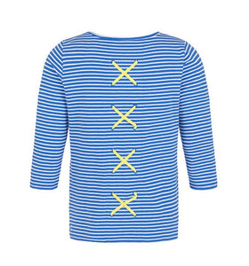 Tribal - Striped Top with Back Detail - Blue & White