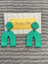 Load image into Gallery viewer, Emilia Alice Designs - Clay Earrings - Arch in Bright Teal