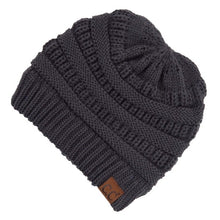 Load image into Gallery viewer, CC Adult Beanie with Criss Cross Cut Out for Ponytails - Dark Grey