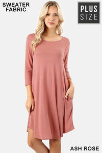 Ash Rose Sweater Fabric Dress with Pockets
