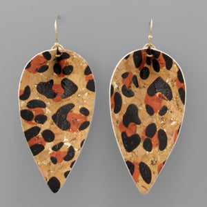 Cork Leaf Dangle Earrings