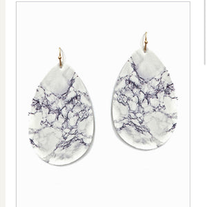 White and Grey Marbled Faux Leather Earrings