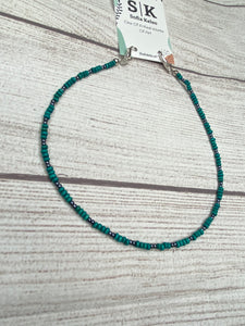 Handmade Beaded Mask or Eyeglass Chain - Turquoise & Silver