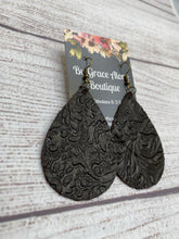 Load image into Gallery viewer, Black with Gold Embossed Floral Design Tear Drop