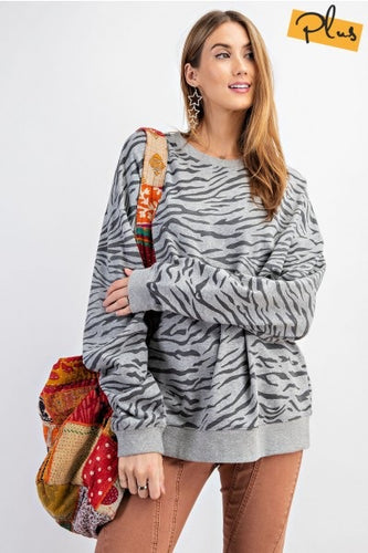 Zebra Printed Pullover - Heathered Grey