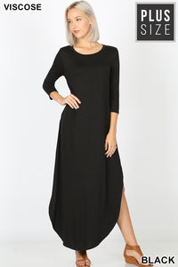 Black Maxi with 3/4 Sleeves and side slits