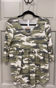 Charcoal and Olive Camo Peplum Top 3/4 Sleeves