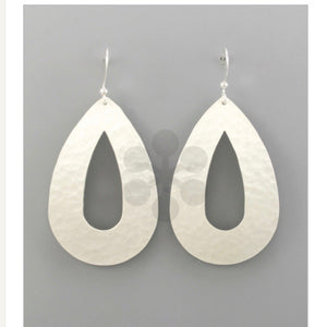 Hammered Tear Drop Earrings - Silver