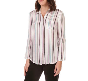 Tribal - Spring Multi Color Stripped Roll Up Sleeve Shirt