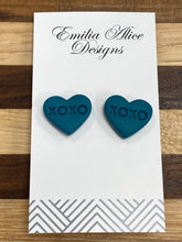 Load image into Gallery viewer, Emilia Alice Designs - Clay Earrings -Dark Teal Studs - XOXO