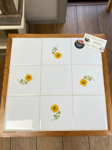 Handmade Table - White Tiles with Yellow Flowers