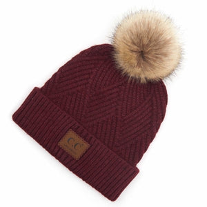 CC Adult Diagonal Stripe Knit Pattern Pom Beanie - Berry Mix