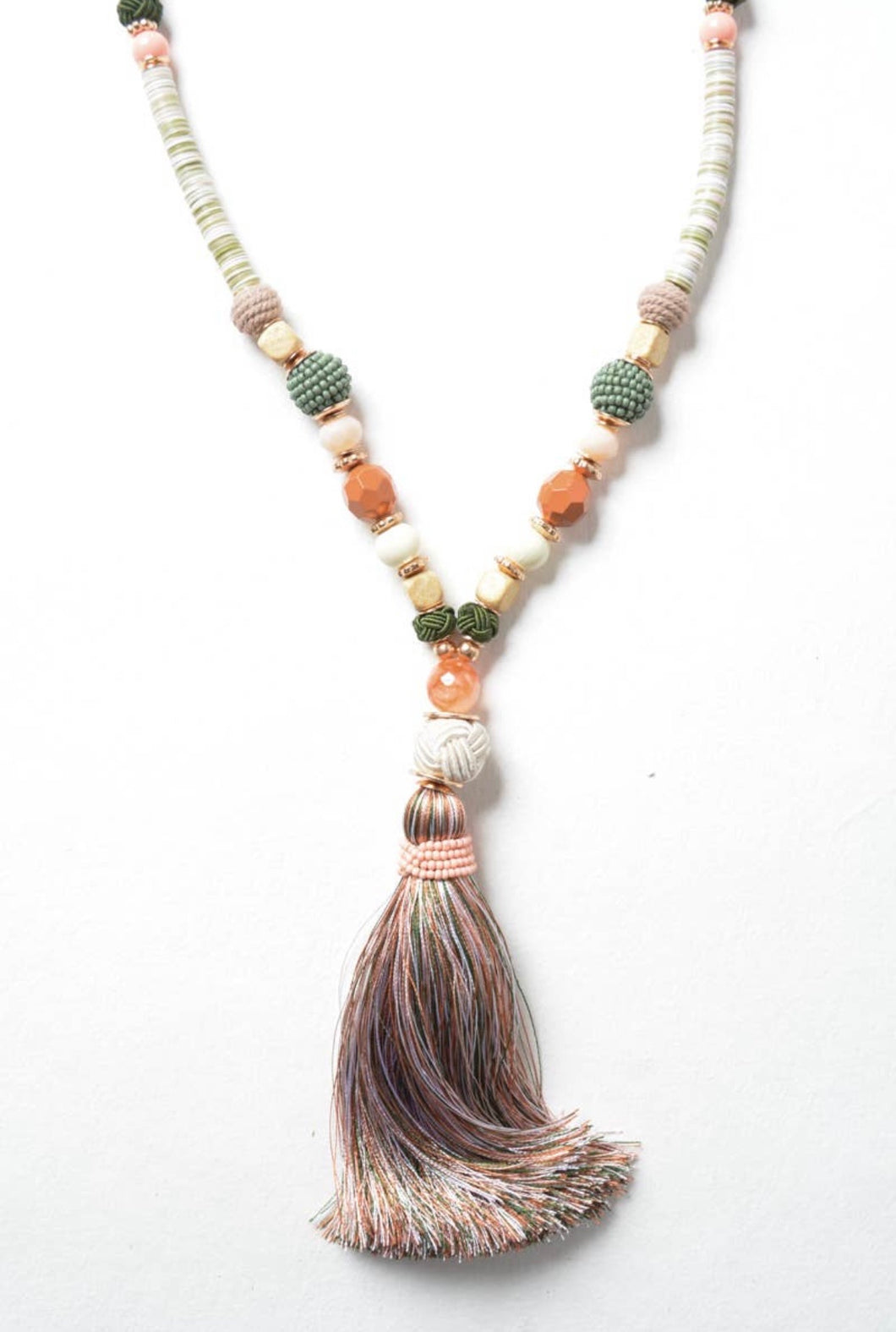 Moroccan Multi Bead Tassel Necklace
