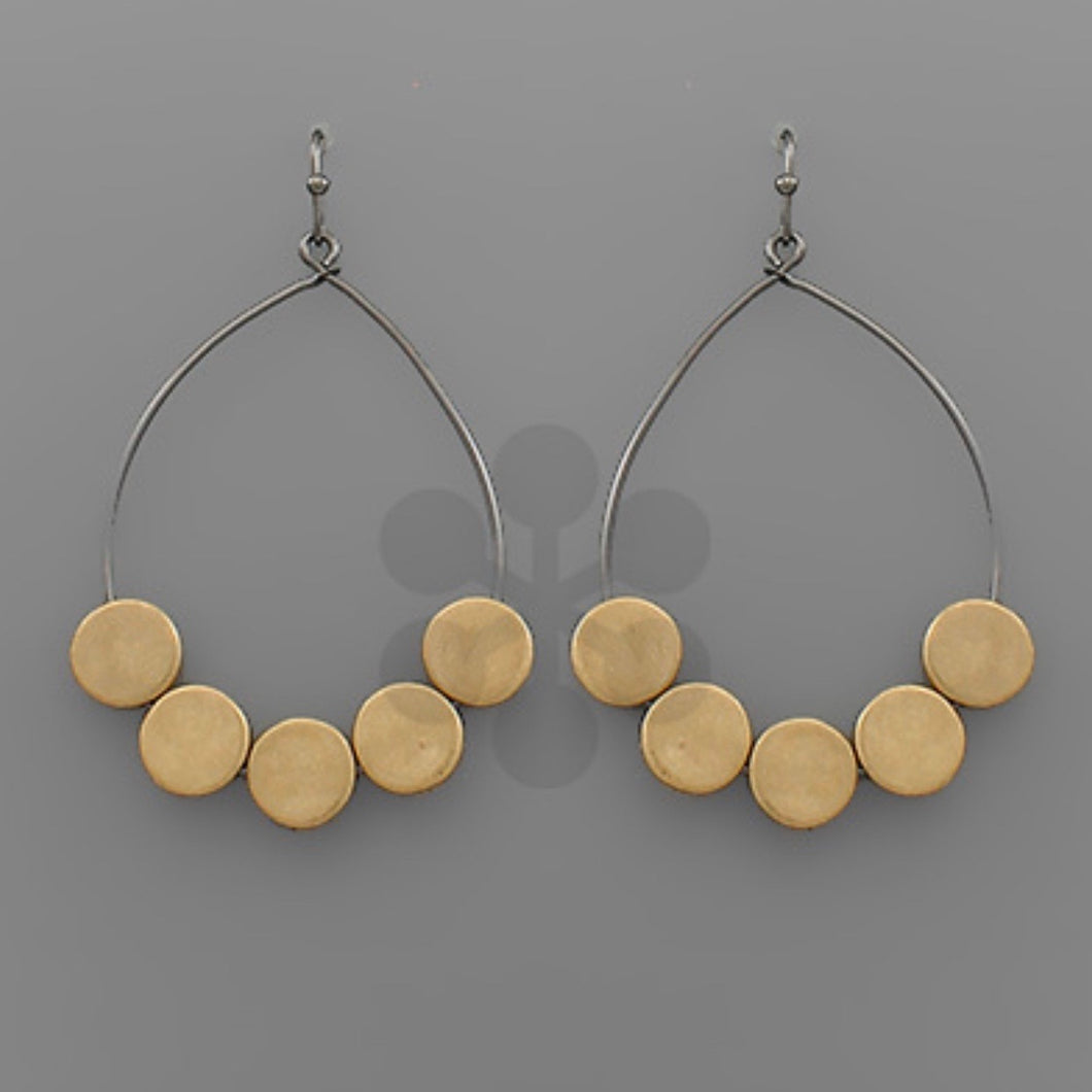 Wire Hoops with Gold Metal Discs