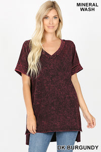 Dark Burgundy Mineral Wash Short Sleeve Top with High Low Hem