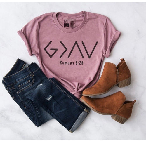 God is Greater - Pink Crew Neck