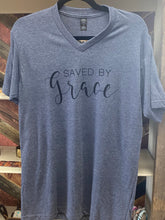 Load image into Gallery viewer, Saved By Grace - Heathered Blue V Neck